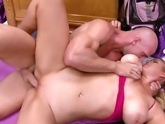 A big dicked guy gives a sexy horny blonde a steamy fuck session in her tight pussy.