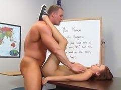 Slender brunette schoolgirl Mae Meyers with long whorish nails and tight ass in short skirt gets her sweet hairless honey pot banged balls deep by muscled teacher in his office.