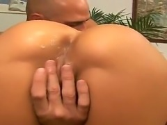 Smoking hot brunette bombshell Rachel Starr with big perfectly shaped hooters and stunning ass gives head to muscled Johnny Sins with long shaft and gets rammed in the office.
