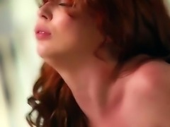 Pretty brunette babe Jessie Palmer with tight ass and natural boobs in stockings only gets licked and boned deep by her horny lover to orgasm in sensual bedroom fantasy.