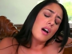 Astonishing brunette bombshell Sasha Meow with beautiful natural boobs plays with a pink dildo