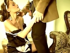 Big dicked guy arrives home to be sucked by a sexy petite brunnete Sophie Lynx then a steamy fuck session