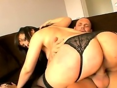 Black haired cheating wife Mara Lopez with long whorish nails and huge bouncing ass in sexy stockings gets rammed balls deep by tattooed Nacho Vidal in doggy style position.