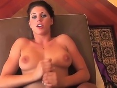 Busty hottie Kylie Rachelle is a pro when it comes to wanking dicks. She holds onto her lovers meat stick tightly and strokes it till he spews jizz out.