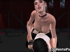 3d black haired babe with big tits gets her tight pussy fucked by toon dude