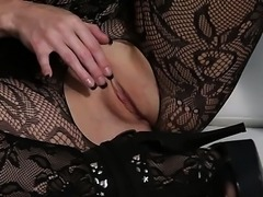 Blonde in lace lingerie fucking brunette with pink strap on dildo