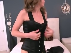 Blonde with phat ass and shaved beaver has a good time playing with cum...