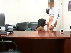 Skinny shy Isabella Pena with small titties and tight ass gets naked for filthy dude at the interview and sucks his cock in point of view in his office.