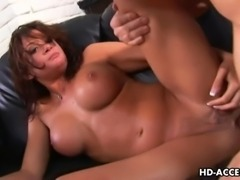 Raunchy brunette with massive juggs Tory Lane slobbers all over her naughty lover's thick boner. He sticks his throbbing dick deep inside of her wet shaved pussy before letting her ride on it. Afterward he impales her tender rectum on his long meat stick making her groan loudly.