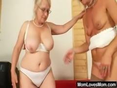Well-endowed grandma penetrates a milf free