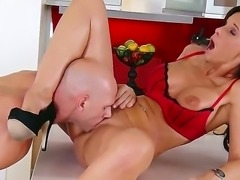 Baldheaded man Johnny Sins spends great time with gorgeous milf Syren De Mer. The amazing mommy does her best to bring the pal at cloud seven from sex with her!