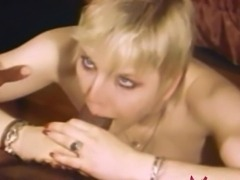 Vintage porn scene with a flat-chested blonde babe getting fucked by black stud Jonathan Younger while traveling out of town.
