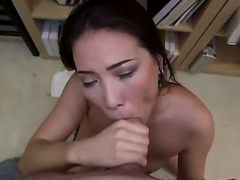 Wonderful-looking porn scene with amazing brunette Asian chick next door would make you feel great. She takes everything off before playing with dick by hands and mouth.