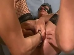 Extreme amateur slut is gang bang fisted and fucked with huge dildos then rims their dirty assholes