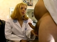 Blonde girl in white stockings has her ass hole ridden hard and good.