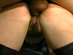 Hairy brunette gets the roughest treatment of her life with lots of fucking and fisting.