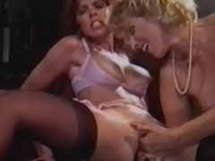 Classic babe Janey Robbins enjoys a lesbian affair with Patty Manning. These ladies passionately embrace and kiss before enjoying each others pussy.