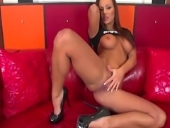 Brunette pornstar Shayla Green fills her shaved pussy with her big dildo and cock ring vibrator.