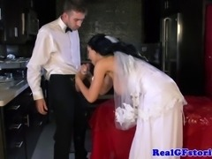 Big titted milf housewife bride facial