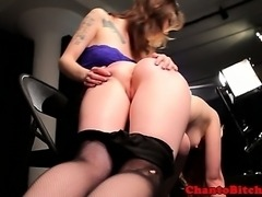 BDSM lezdom dom spanking blonde submissive