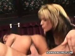 Tyla and Annie Taking Turns On a Cock