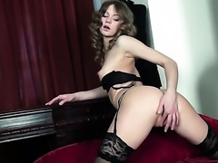 With small boobs and shaved pussy cant stop fingering her wet spot