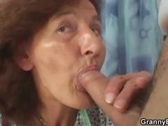 A customer bangs old sewing lady
