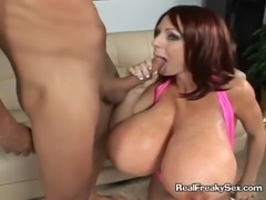Lucky cock gets squeezed and buried between two massive mammaries and then between horny cunt lips