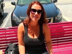 Busty hottie gets picked up and teased into having naughty sex in the car