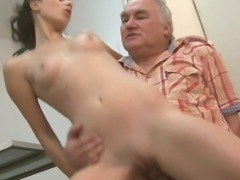 Petra willingly bends over excited to take an old but experienced cock in her tingling twat