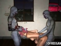 Jaw dropping 3D cartoon pink haired honey sucking on a zombies cock while getting fucked