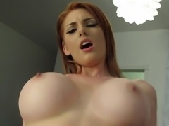 Busty redhead girlfriend having sex on camera