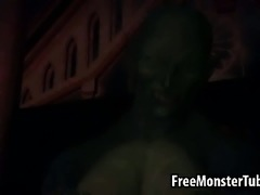 Blue haired 3D honey sucks and fucks a monster