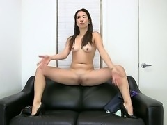 Long haired, slim Asian chick Lily naked, teasing her body and stimusexy her tight slit with a massive dildo before sucking on  a pulsating, hot cock.