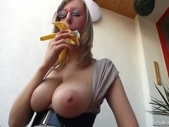 Shelby Moon has quite good licking skills, just imagine your hard cock instead of this banana... To offer her a proper dick to play untill you will cum all over this nerdy face! YES!!