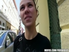 Natural Czech girl is paid cash to take a huge cock free