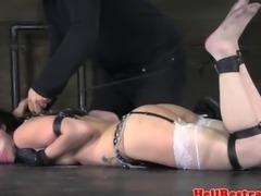 Hogtied bdsm submissive babe tickled