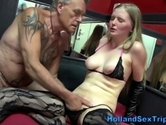 Amateur stockings euro prozzie fingered by old tourist
