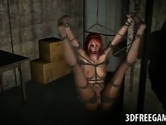 Tied up and ball gagged 3D redhead gets tied up