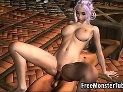 Sexy 3D cartoon elf babe gets licked and fucked