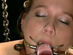 Cute Aiden Aspen is bound with no means of escaping while Mark Davis is making her pussy wet with a vibrator and punishing her with other toys.