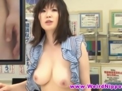 Busty oriental news host threeway fuck during live broadcast