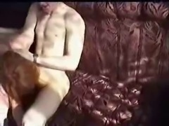 redhead Russian granny fucked in living room by young lad