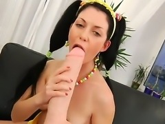 Young Isabell adores fucking her ass hole with her sex toys. The chick is very naughty and she stuffs her pussy and then anus with her big strap ons and gets her holes ready for the sex