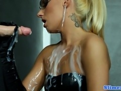 Nella Elmer horny at the gloryhole and drenched in cum