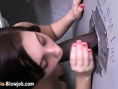 Gloryhole slut swallows cum