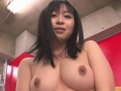 Wow, imagine looking in front of you and seeing the sexy Nozomi Hazuki bent over in front of you in a thong with her gorgeous ass wagging back and forth! What would you do to her? She´s thinking about it while this busty asian milf fucks her own pussy.