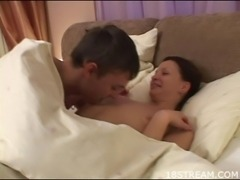 After a passionate and wild fucking session dude cums on his babe