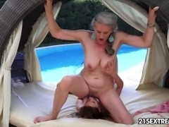 Granny Aliz and her young girlfriend, Candy enjoy the last of the summer together out in the open. Of course in their case that involves some ageless lesbian play. a young tongue in a mature pussy and old fingers in a tight young cunt.