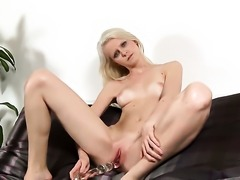 Samantha Heat masturbates to orgasm in solo action